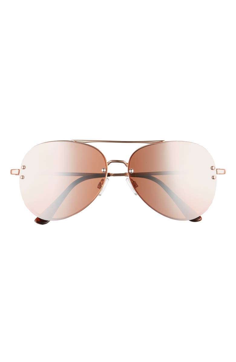 BP. 60mm Oversize Mirrored Aviator Sunglasses, Main, color, ROSE GOLD