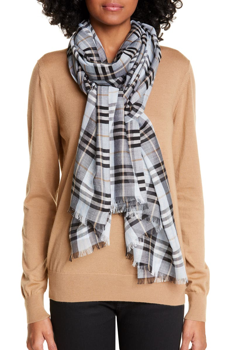 BURBERRY Vintage Check Wool & Silk Scarf, Main, color, PALE BLUE