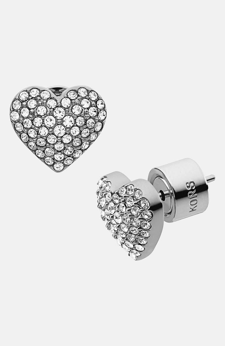 MICHAEL MICHAEL KORS Michael Kors 'Brilliance' Pavé Heart Stud Earrings, Main, color, 040