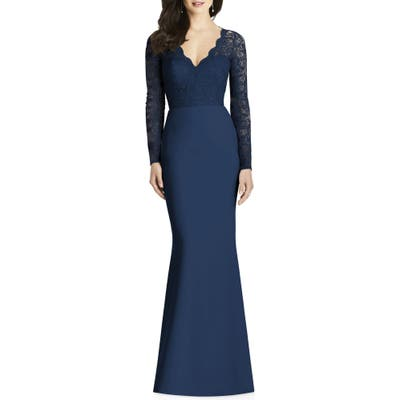 Dessy Collection Lace & Crepe Trumpet Gown, Blue