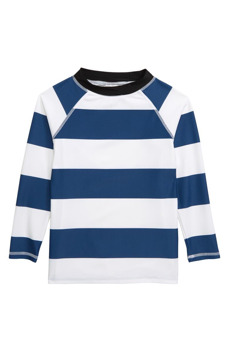 SNAPPER ROCK Rugby Stripe Rashguard, Main, color, DENIM BLUE WHITE
