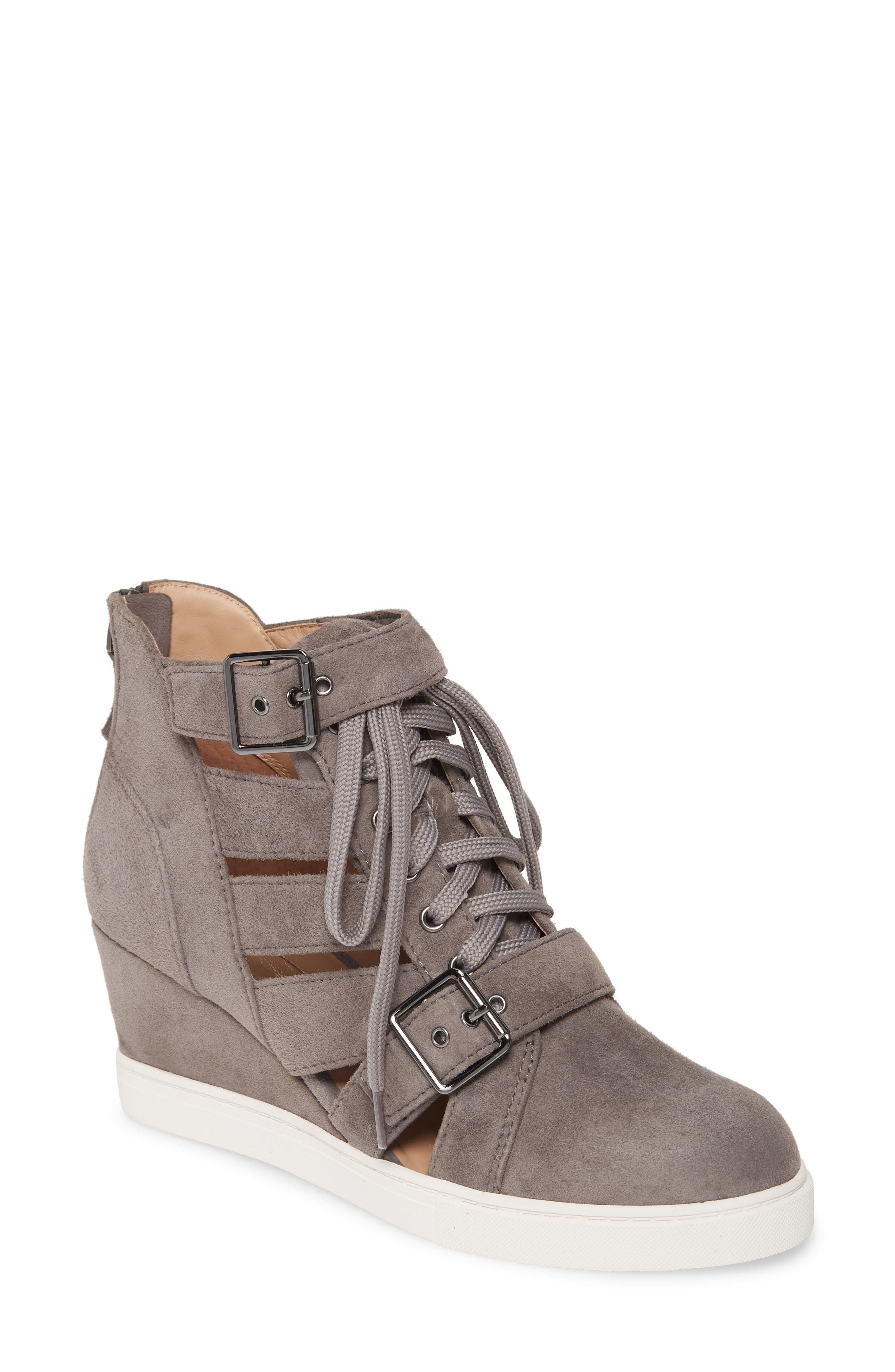 Linea Paolo Fave Cutout Wedge Sneaker, Grey