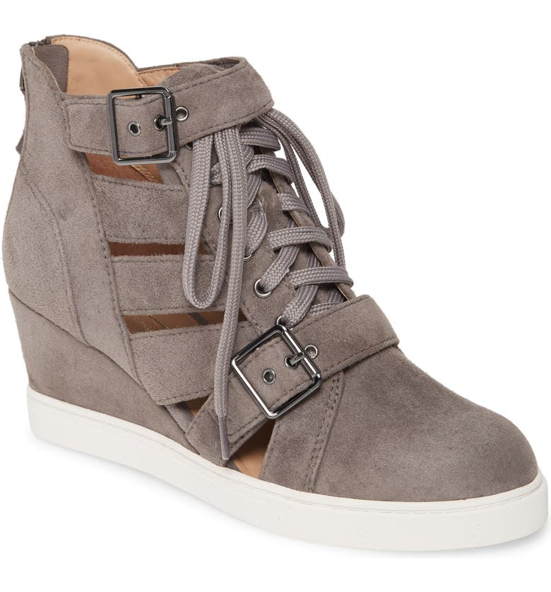 LINEA PAOLO Fave Cutout Wedge Sneaker, Main, color, STONE SUEDE