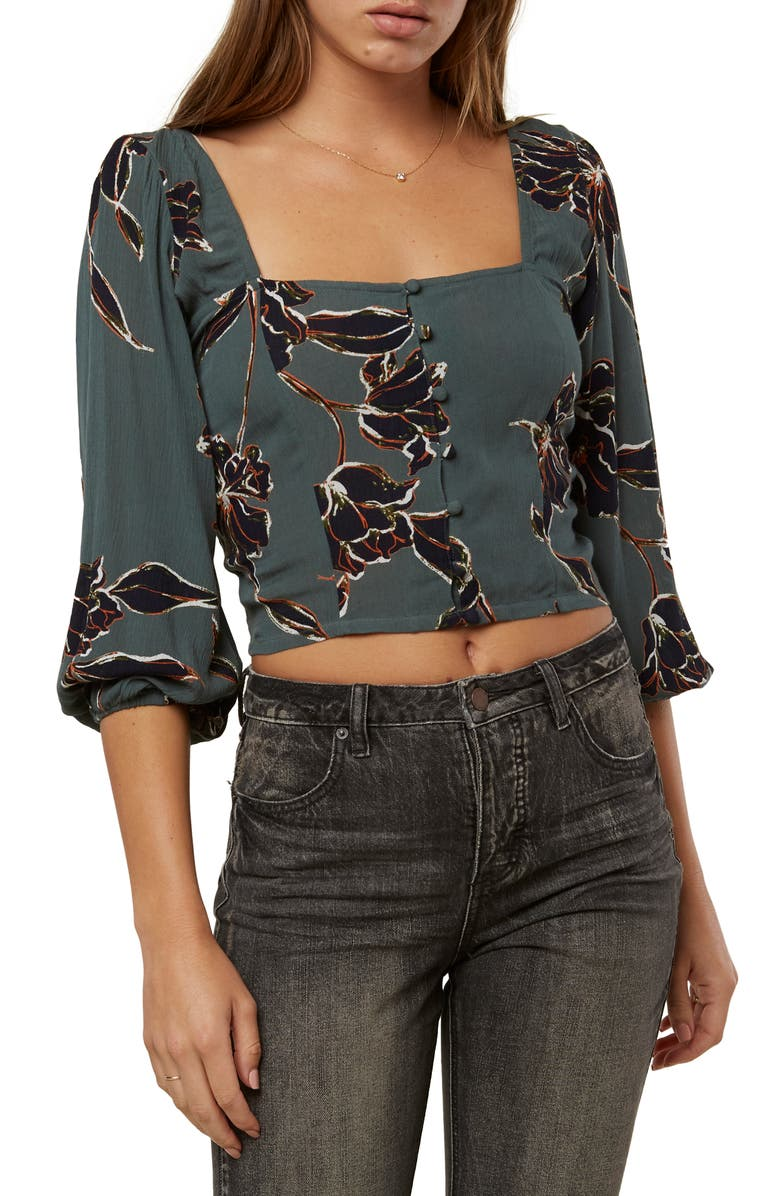 O'NEILL Myra Floral Print Crop Top, Main, color, EVERGREEN