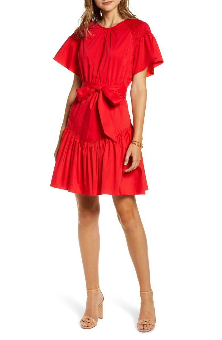 RACHEL PARCELL Ruffle Front Tie Stretch Cotton Dress, Main, color, RED CHINOISE