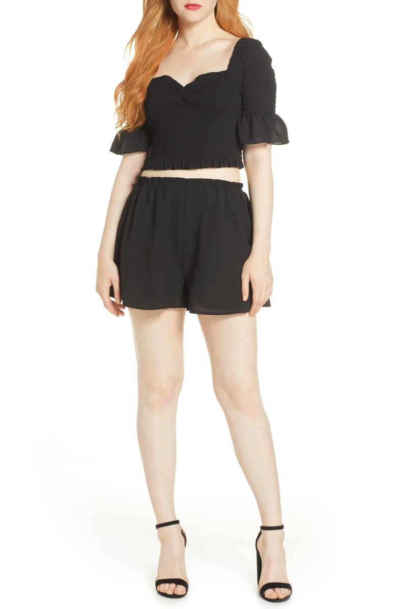 ALI & JAY Hola Chica Smocked Two-Piece Georgette Romper, Main, color, BLACK