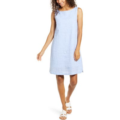 Beachlunchlounge Alina Stripe Linen & Cotton Shift Dress, Blue