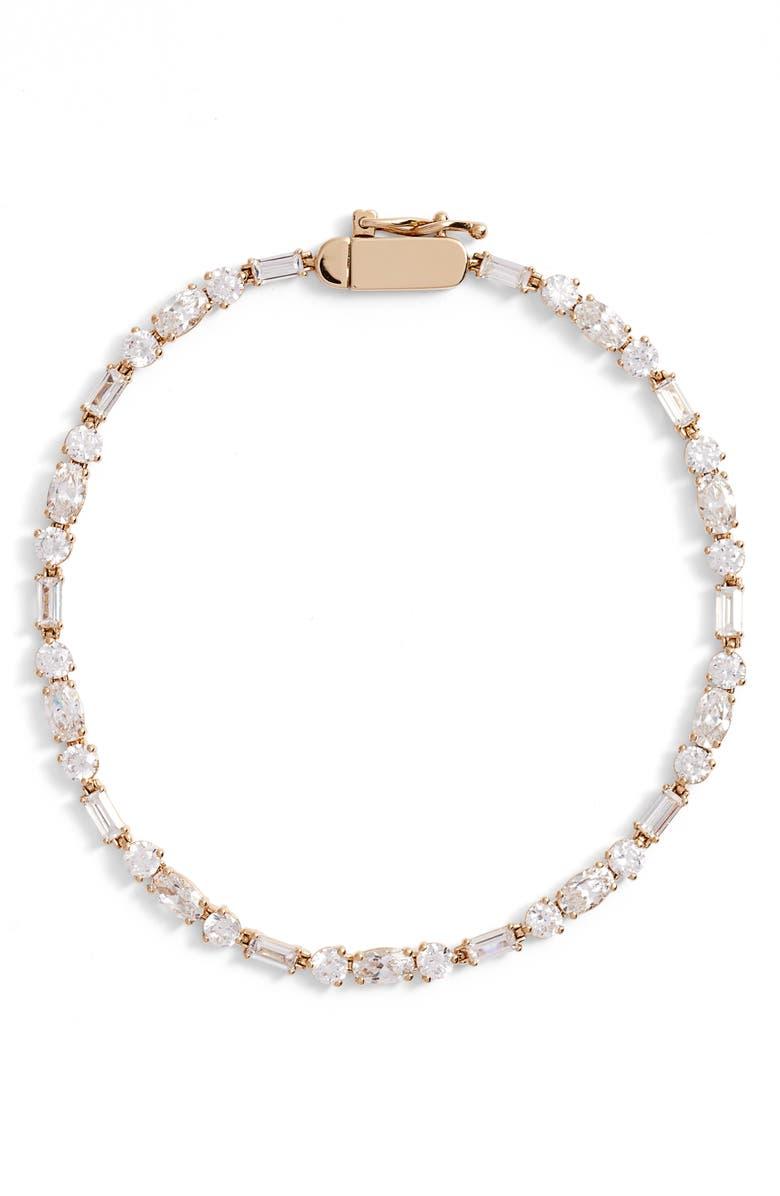 NADRI Bliss Mia Cubic Zirconia Tennis Bracelet, Main, color, GOLD