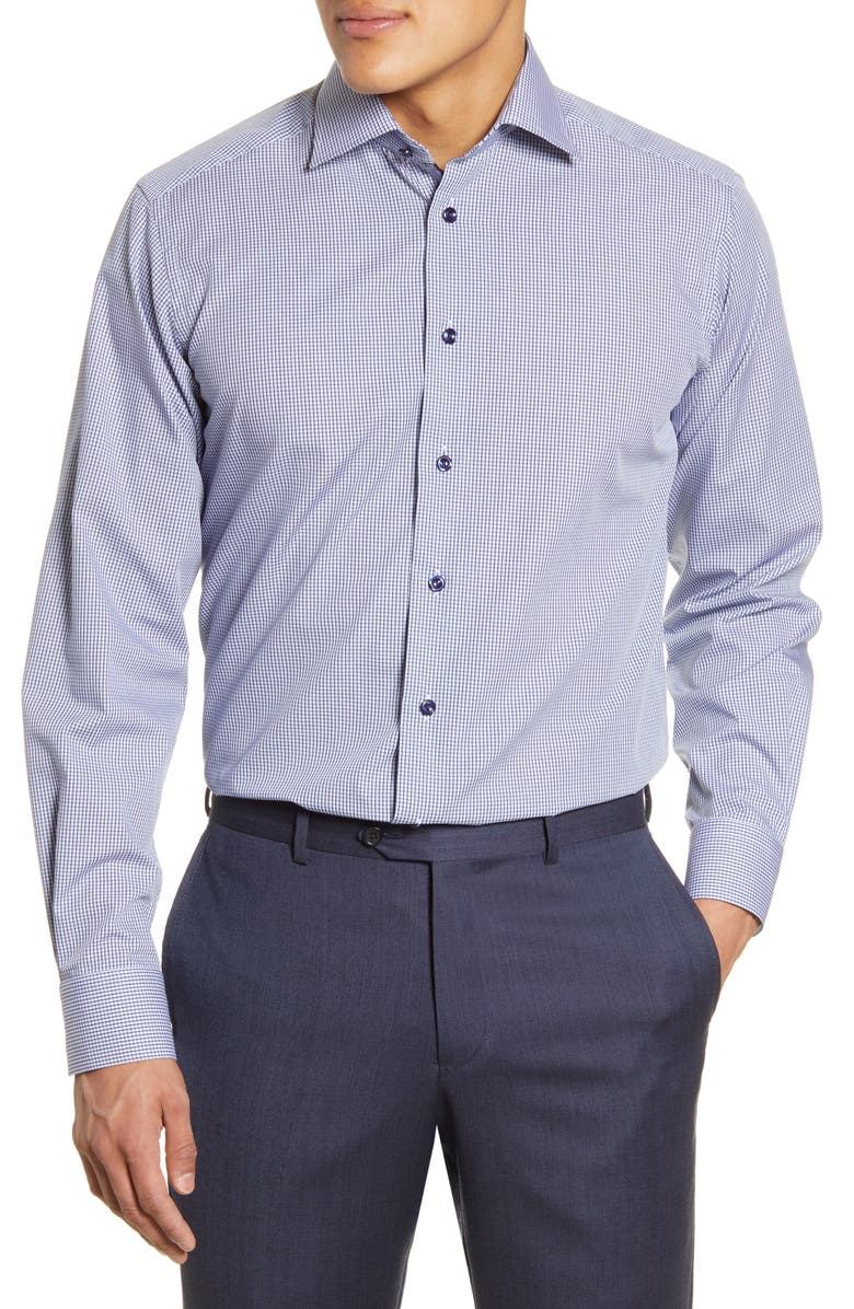 ETON Contemporary Fit Check Dress Shirt, Main, color, BLUE