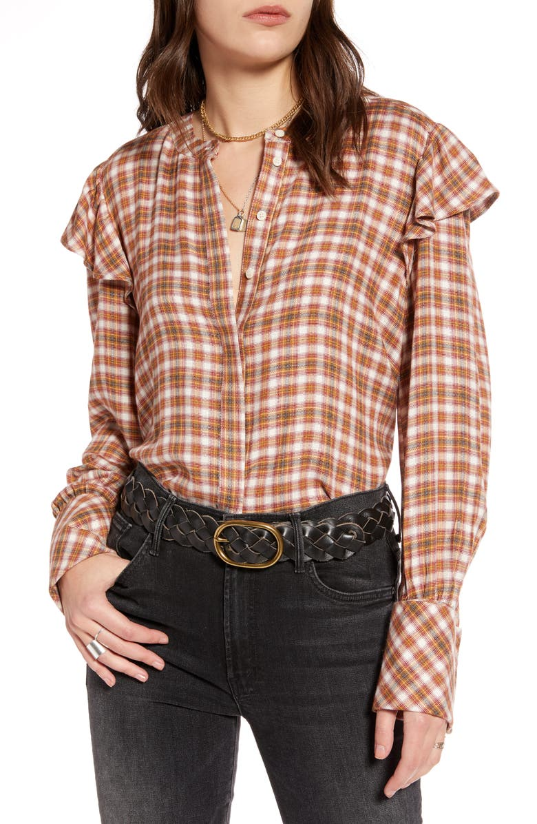 TREASURE & BOND Plaid Long-Sleeve Top, Main, color, IVORY- RED LANEY PLAID