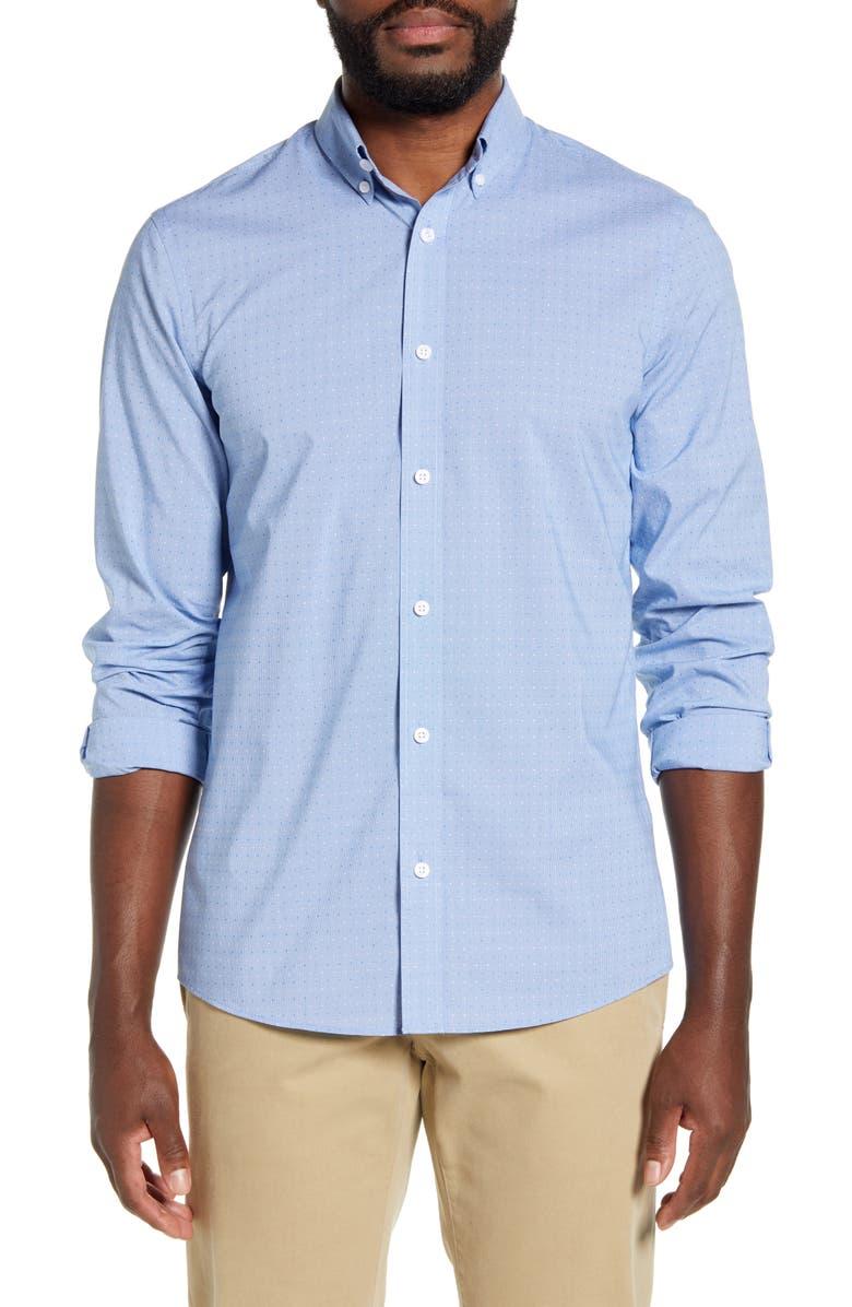 NORDSTROM MEN'S SHOP Tech-Smart Trim Fit Button-Down Shirt, Main, color, BLUE CLASSICS MINI HOUNDSTOOTH