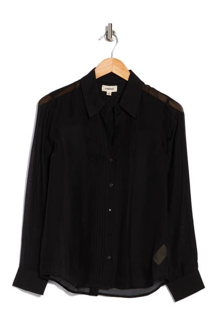 Image of L'AGENCE Swinton Collared Crepe Blouse
