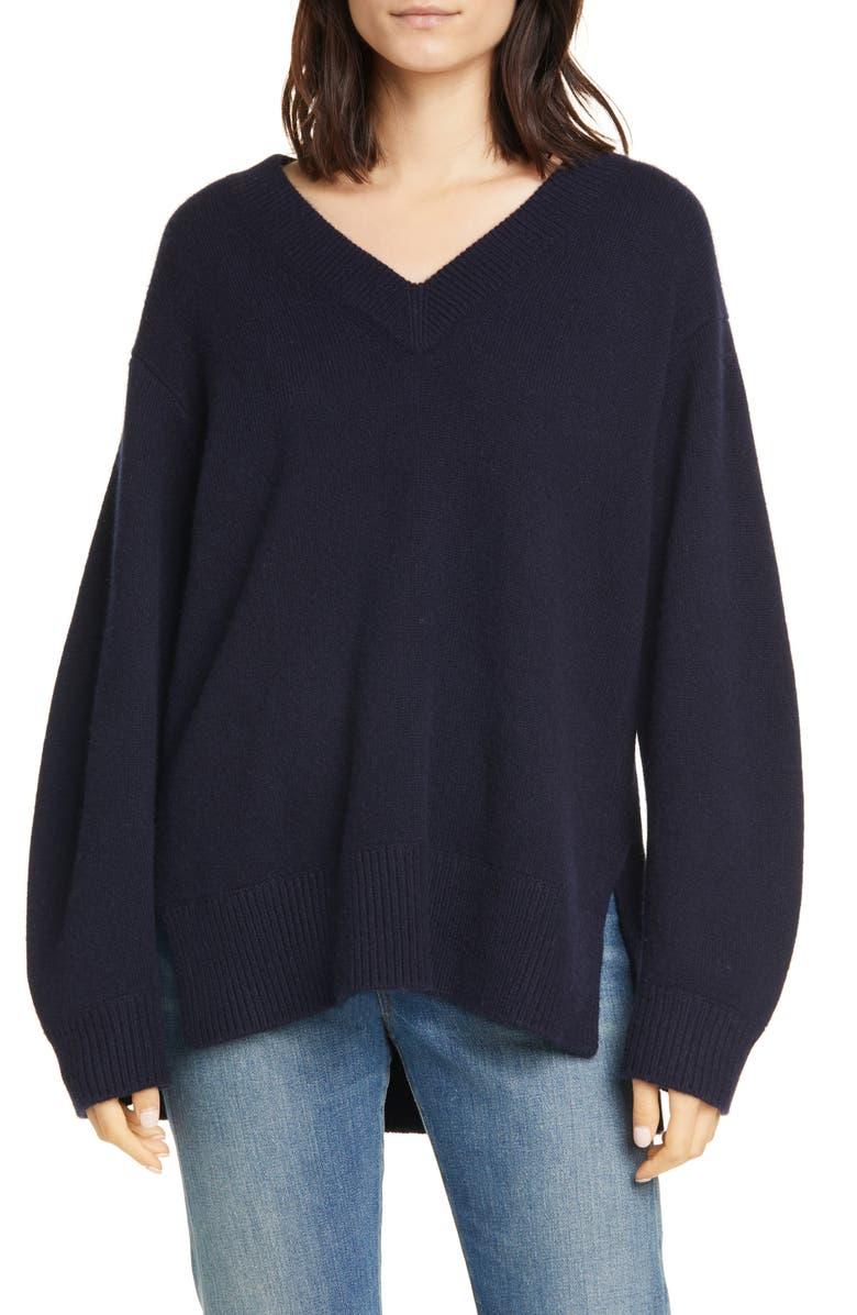 VINCE V-Neck Cashmere Tunic Sweater, Main, color, COASTAL