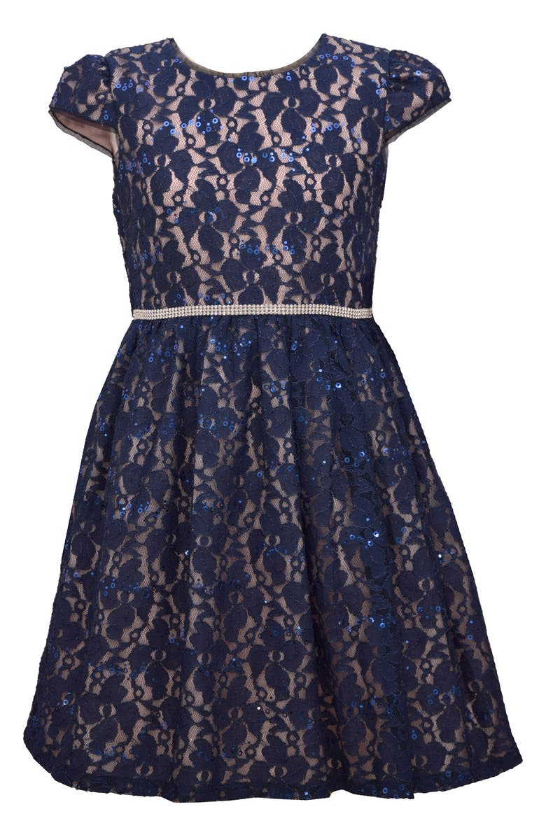 IRIS & IVY Sequin Lace Fit & Flare Dress, Main, color, NAVY