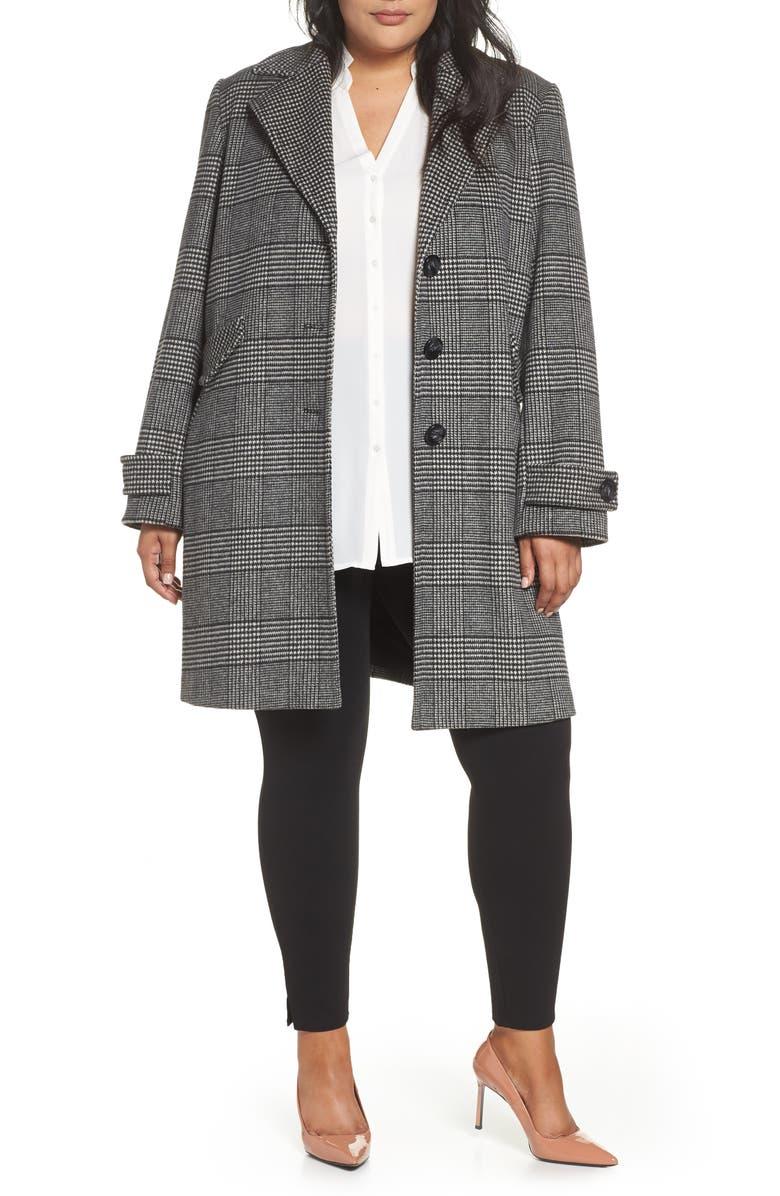 HALOGEN<SUP>®</SUP> Plaid Mix Wool Blend Coat, Main, color, 001