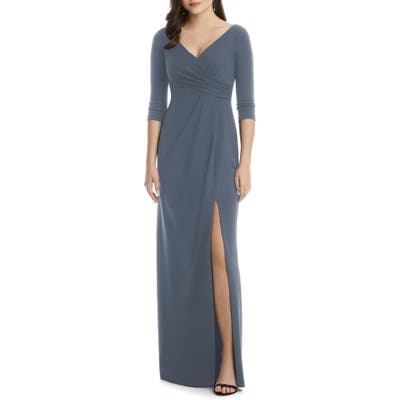 After Six Crisscross Stretch Crepe Evening Dress, Grey