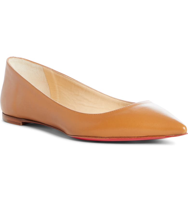 CHRISTIAN LOUBOUTIN Ballalla Pointed Toe Flat, Main, color, CAFE CREME