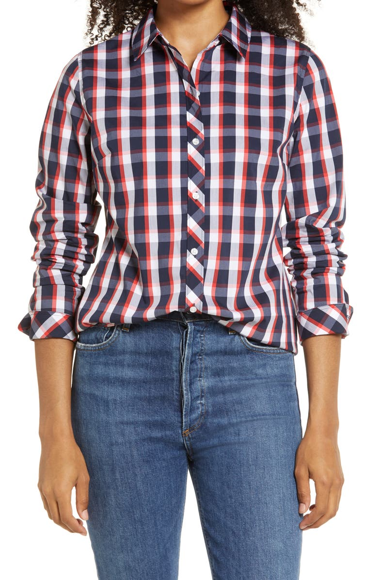 1901 Button-Up Shirt, Main, color, NAVY- RED ISLAND CHECK