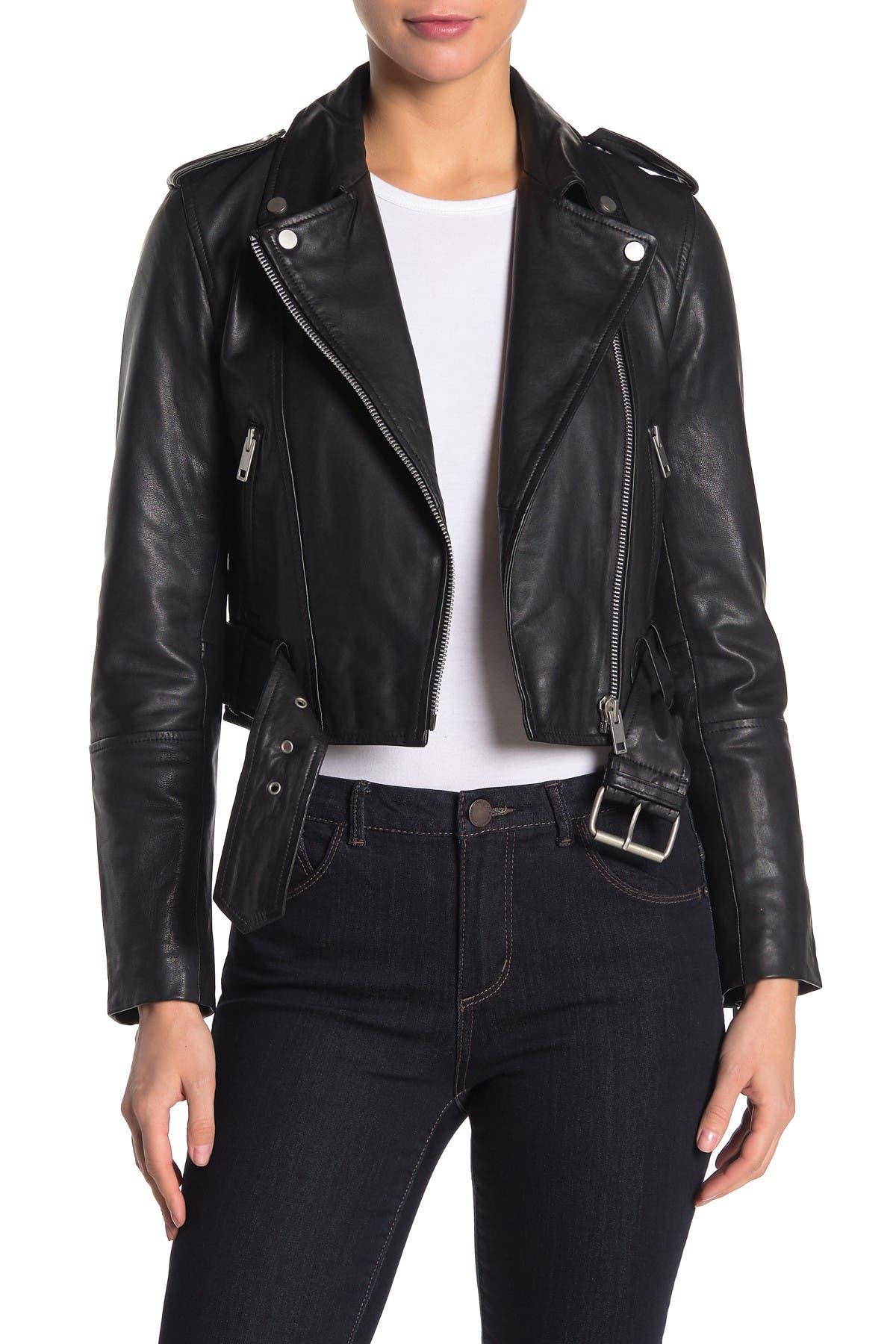 Image of AVEC LES FILLES Leather Belted Cropped Biker Jacket