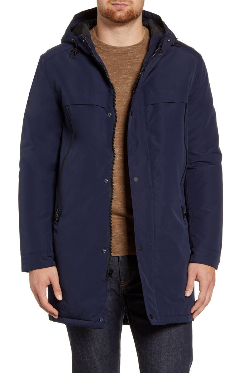 ANDREW MARC Cagney Water Resistant Hooded Coat, Main, color, NAVY