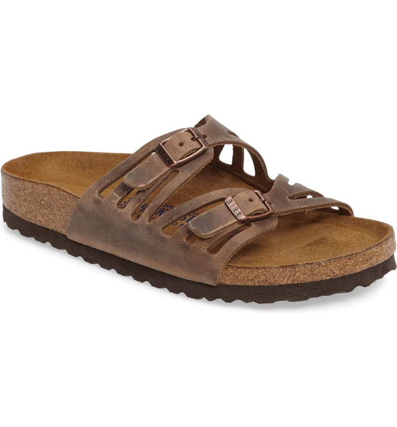 BIRKENSTOCK Granada Soft Slide Sandal, Main, color, TOBACCO