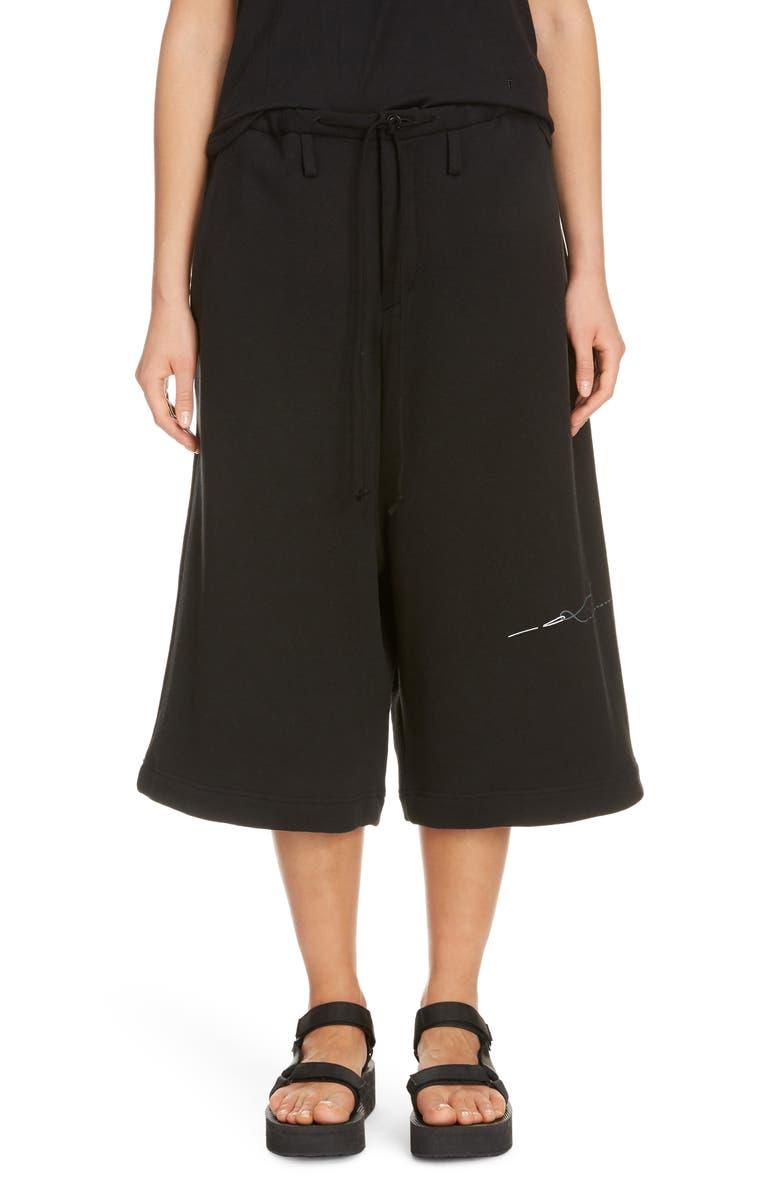 Y'S BY YOHJI YAMAMOTO U-Big Logo Stitch Print Cotton Blend Pants, Main, color, BLACK