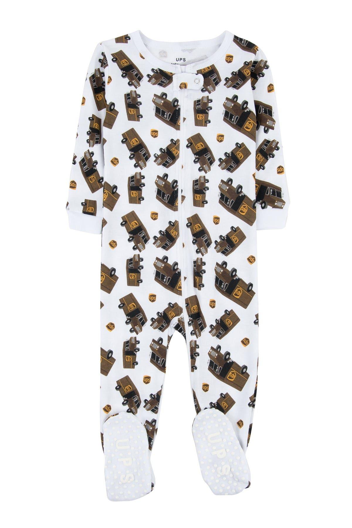 Image of Leveret White UPS Footed Sleeper Pajama