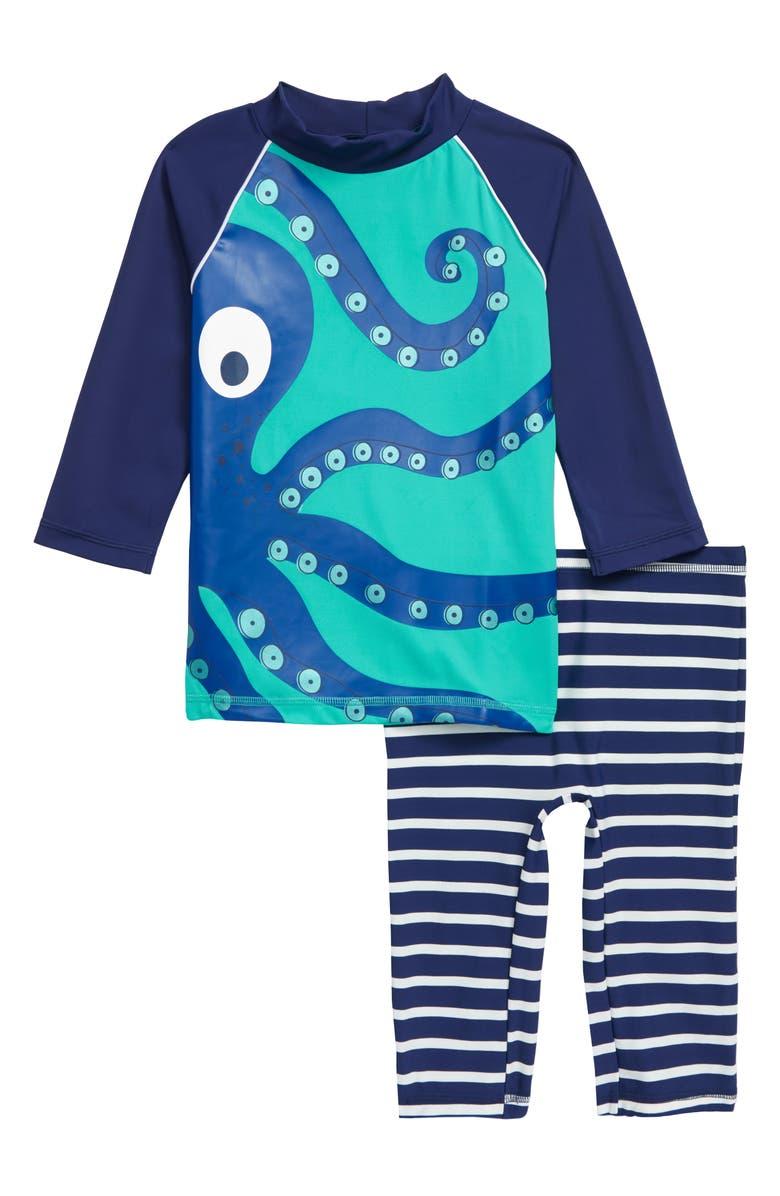 MINI BODEN Surf Suit Two-Piece Rashguard Swimsuit, Main, color, 300