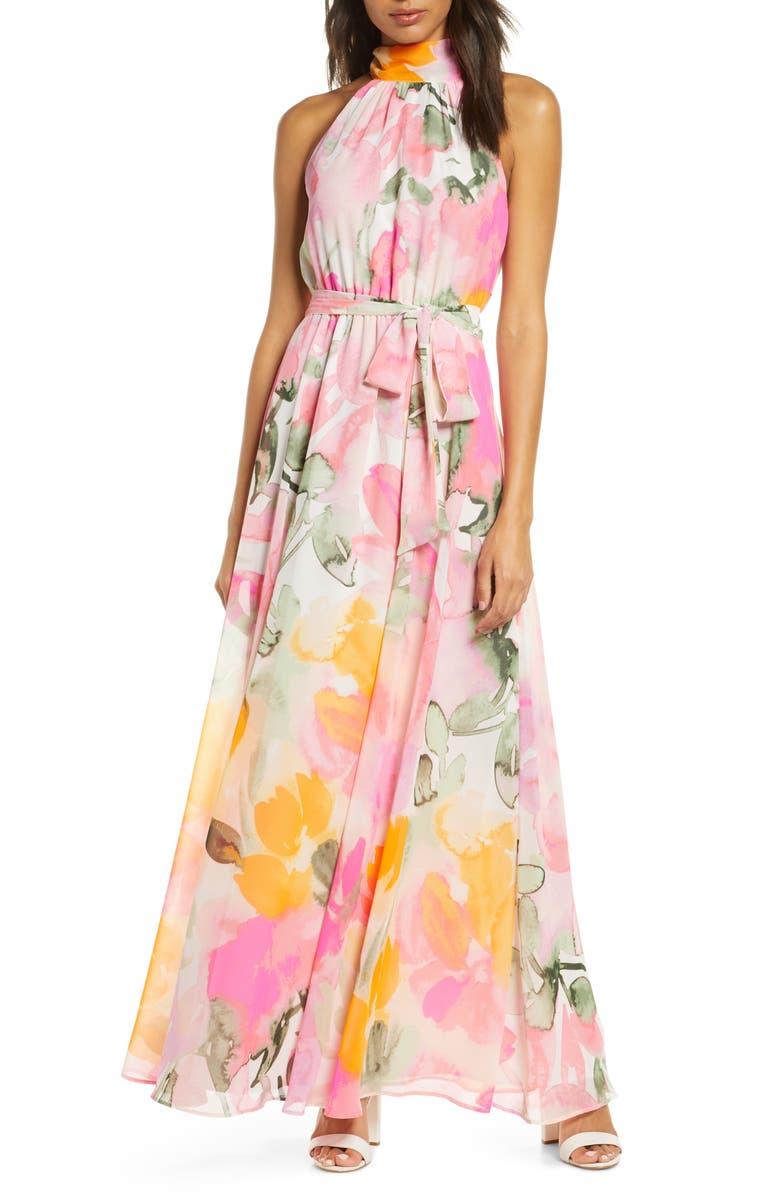 ELIZA J Floral Halter Maxi Dress, Main, color, BLUSH