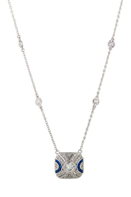 Image of CZ By Kenneth Jay Lane Two-Tone CZ Pave Pendant Necklace
