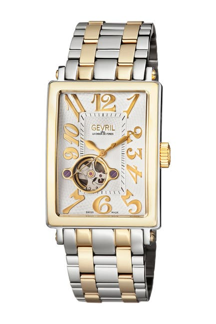 Image of Gevril Men's Avenue of Americas Intravedre Bracelet Watch, 34.5mm