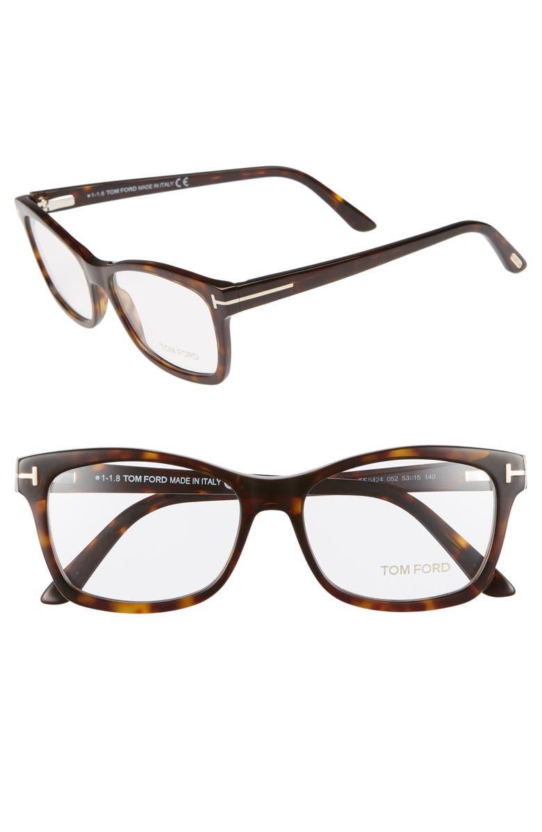 TOM FORD 53mm Optical Glasses, Main, color, SHINY CLASSIC DARK HAVANA