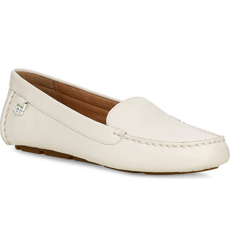 UGG<SUP>®</SUP> Flores Driving Loafer, Main, color, WHITE LEATHER