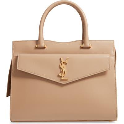 Saint Laurent Medium Uptown Calfskin Leather Satchel -