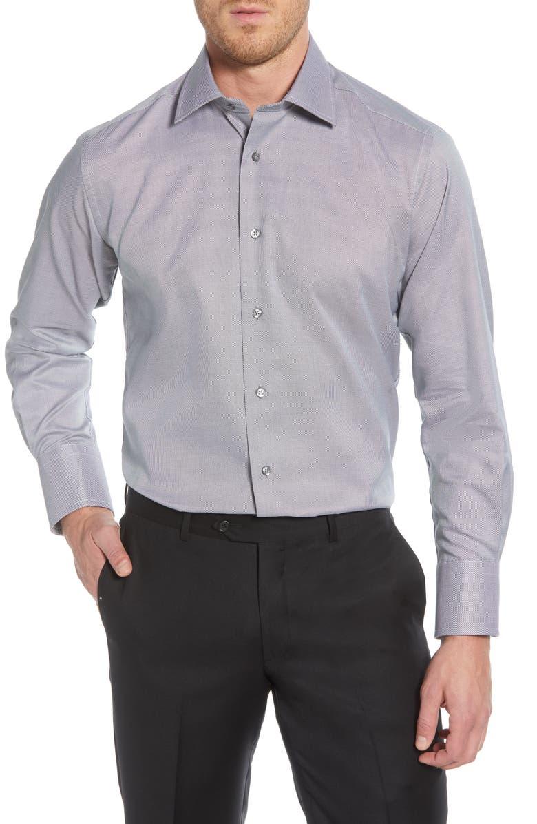 DAVID DONAHUE Regular Fit Solid Dress Shirt, Main, color, BLACK/ WHITE