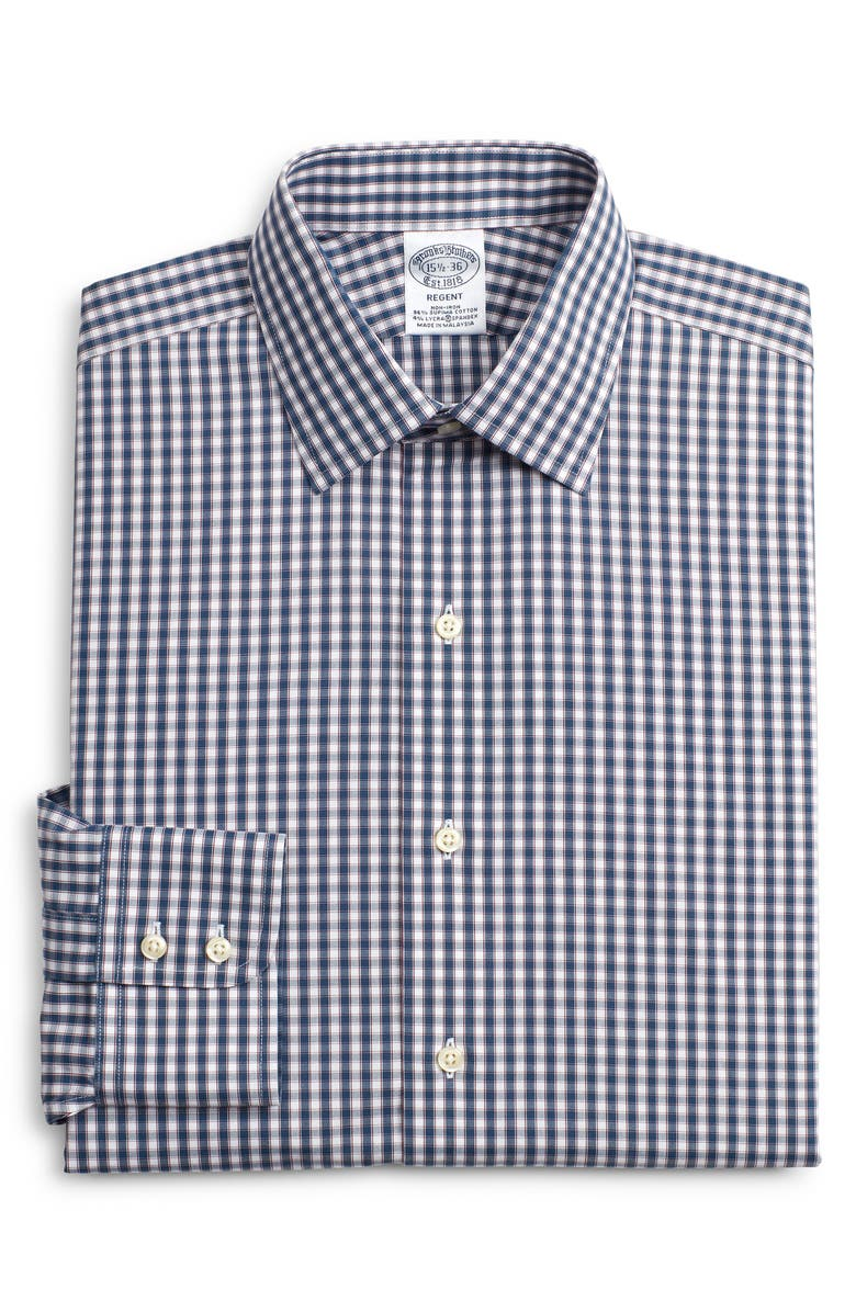 BROOKS BROTHERS Regent Regular Fit Stretch Plaid Dress Shirt, Main, color, NAVY