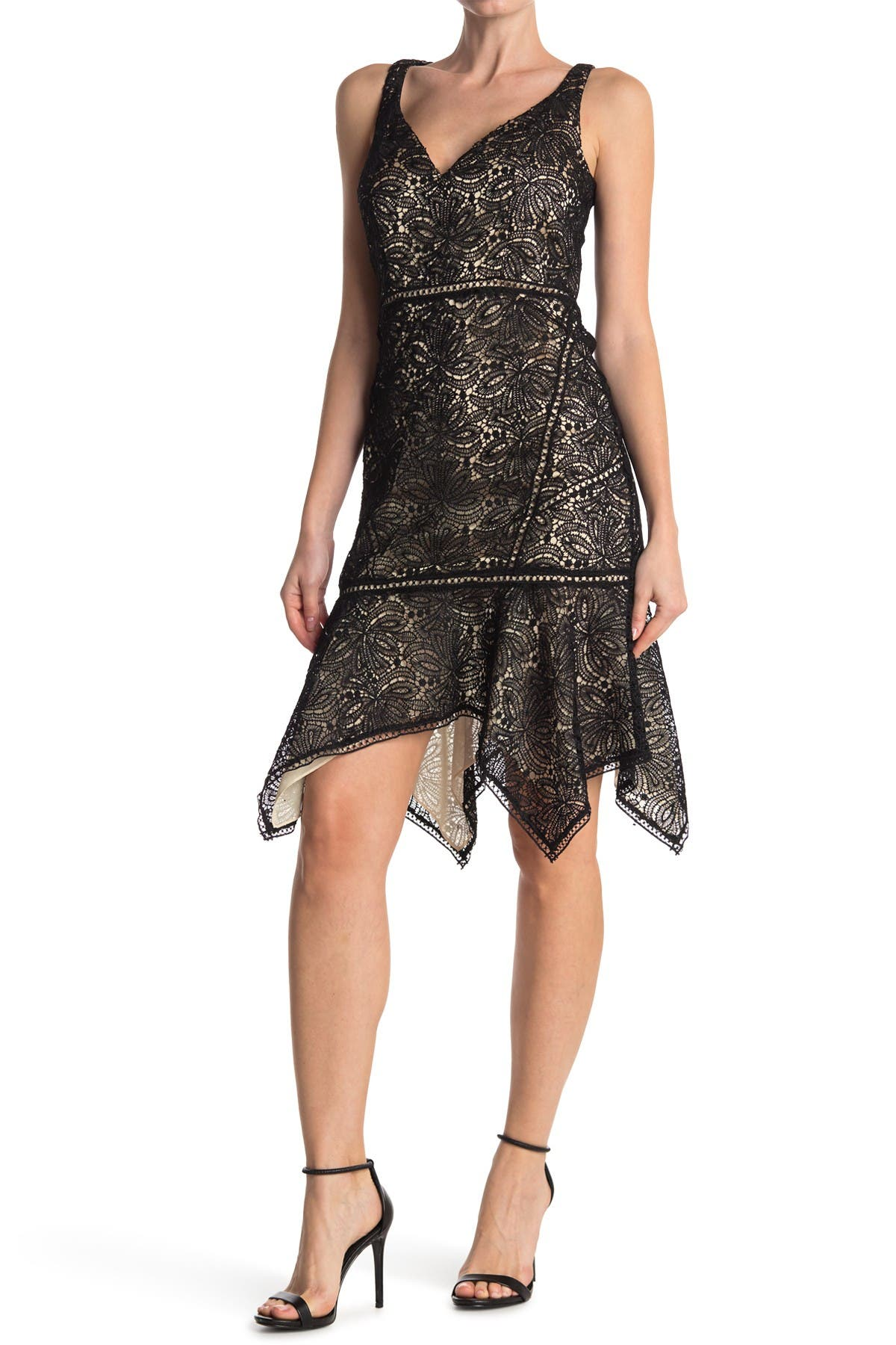 Image of Elie Tahari Mariya Handkerchief Hem Lace Dress