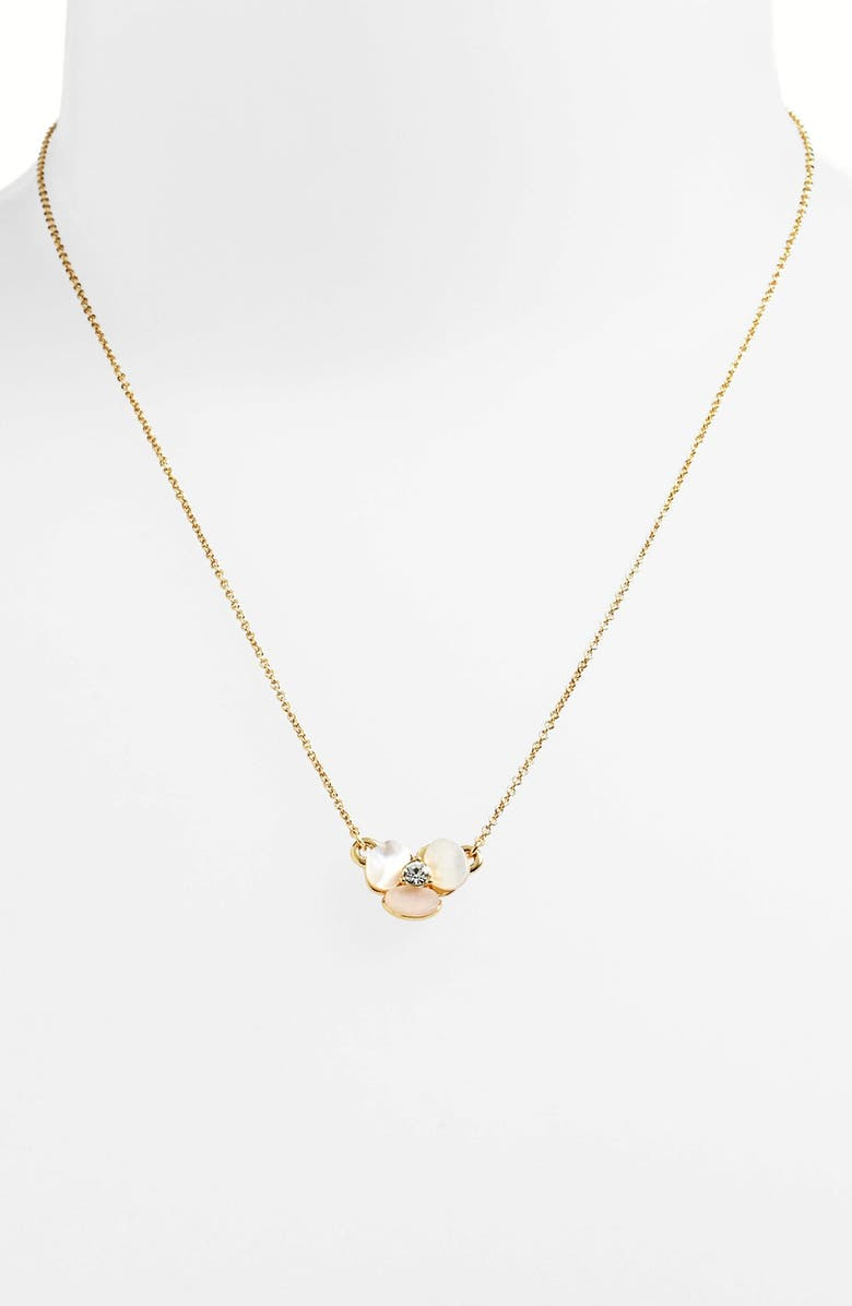 KATE SPADE NEW YORK disco pansy pendant necklace, Main, color, CREAM/ CLEAR/ GOLD