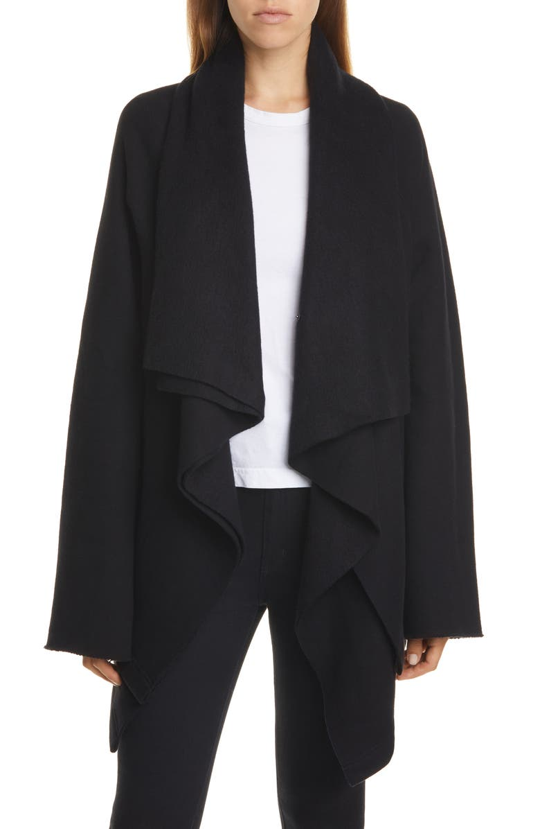 Y'S BY YOHJI YAMAMOTO Draped Open Cardigan, Main, color, BLACK