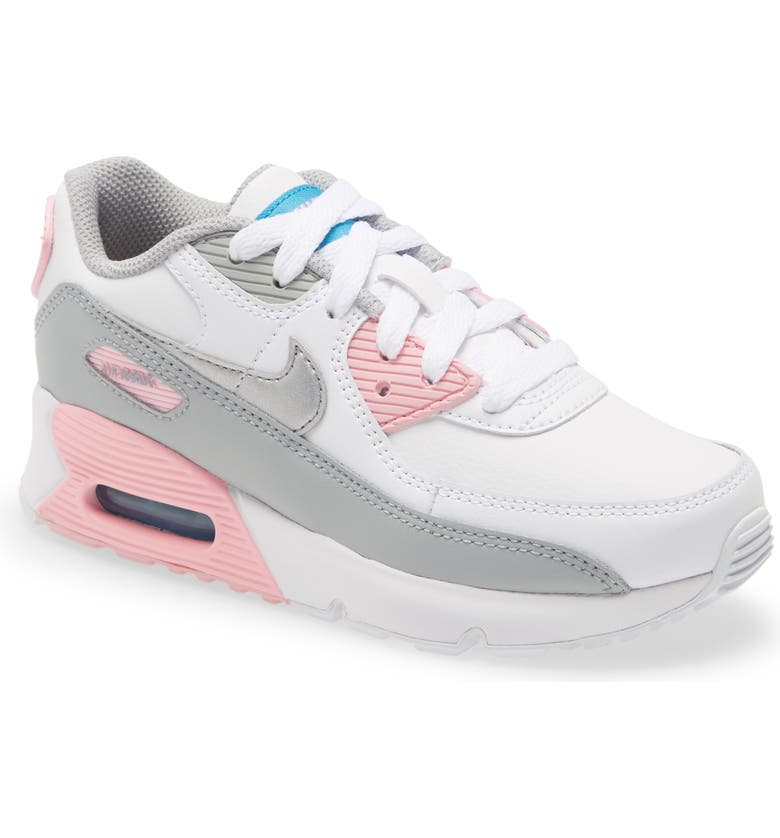 NIKE Air Max 90 Sneaker, Main, color, GREY/ SILVER-WHITE-PINK