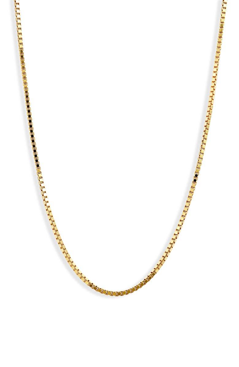 ARGENTO VIVO Box Chain Necklace, Main, color, GOLD