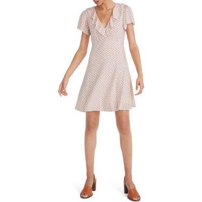Madewell Cutout Blooms Ruffle Flutter Sleeve Dress, Ivory