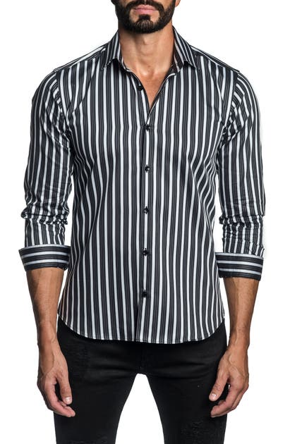 Jared Lang Cottons REGULAR FIT STRIPE BUTTON-UP SHIRT