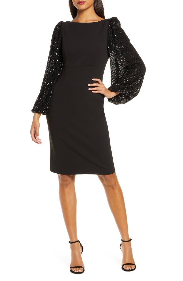 ELIZA J Sequin Blouson Sleeve Cocktail Dress, Main, color, BLACK