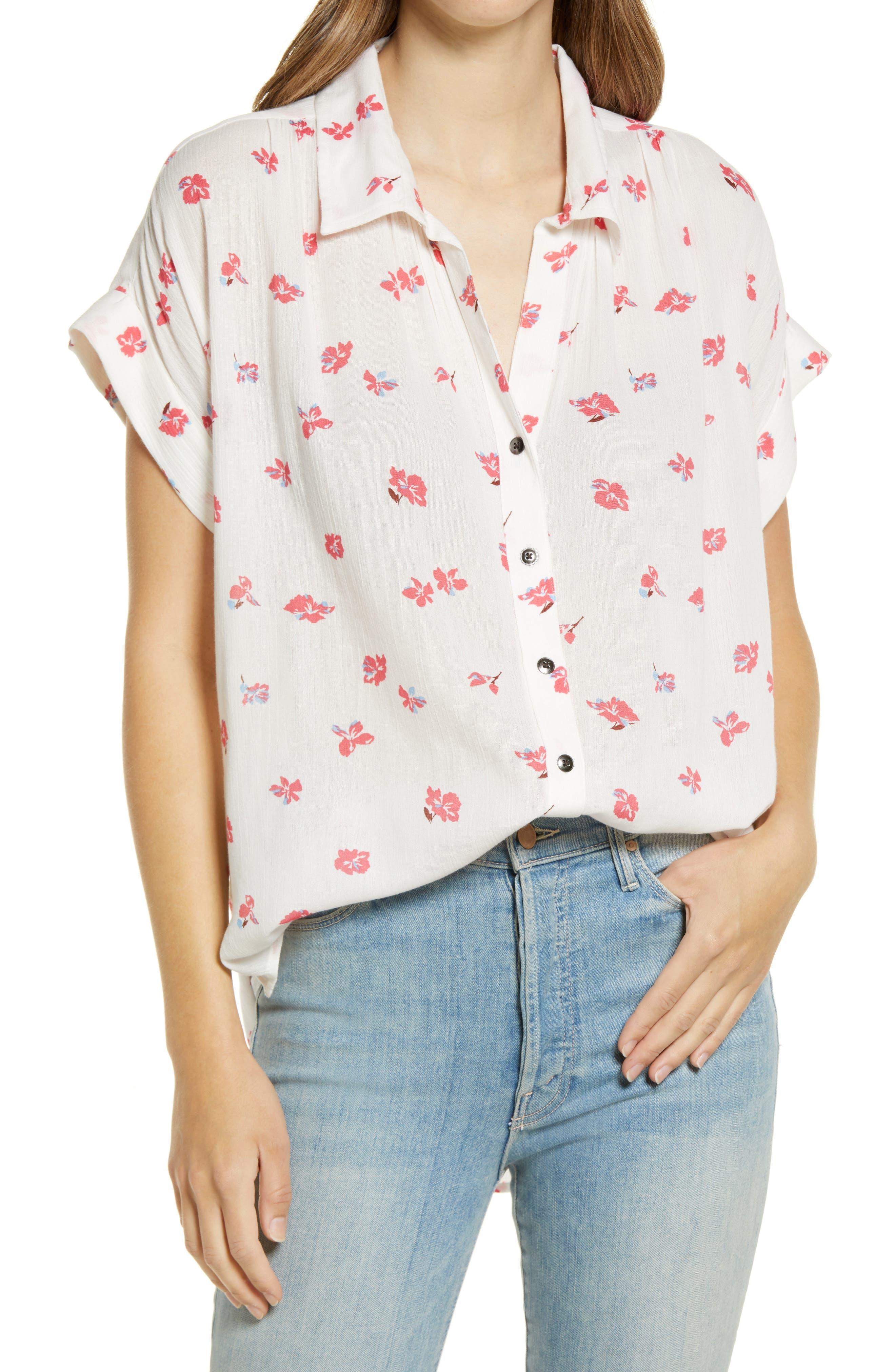 Plus Size Women's Caslon Floral Print Summer Crepe Camp Shirt