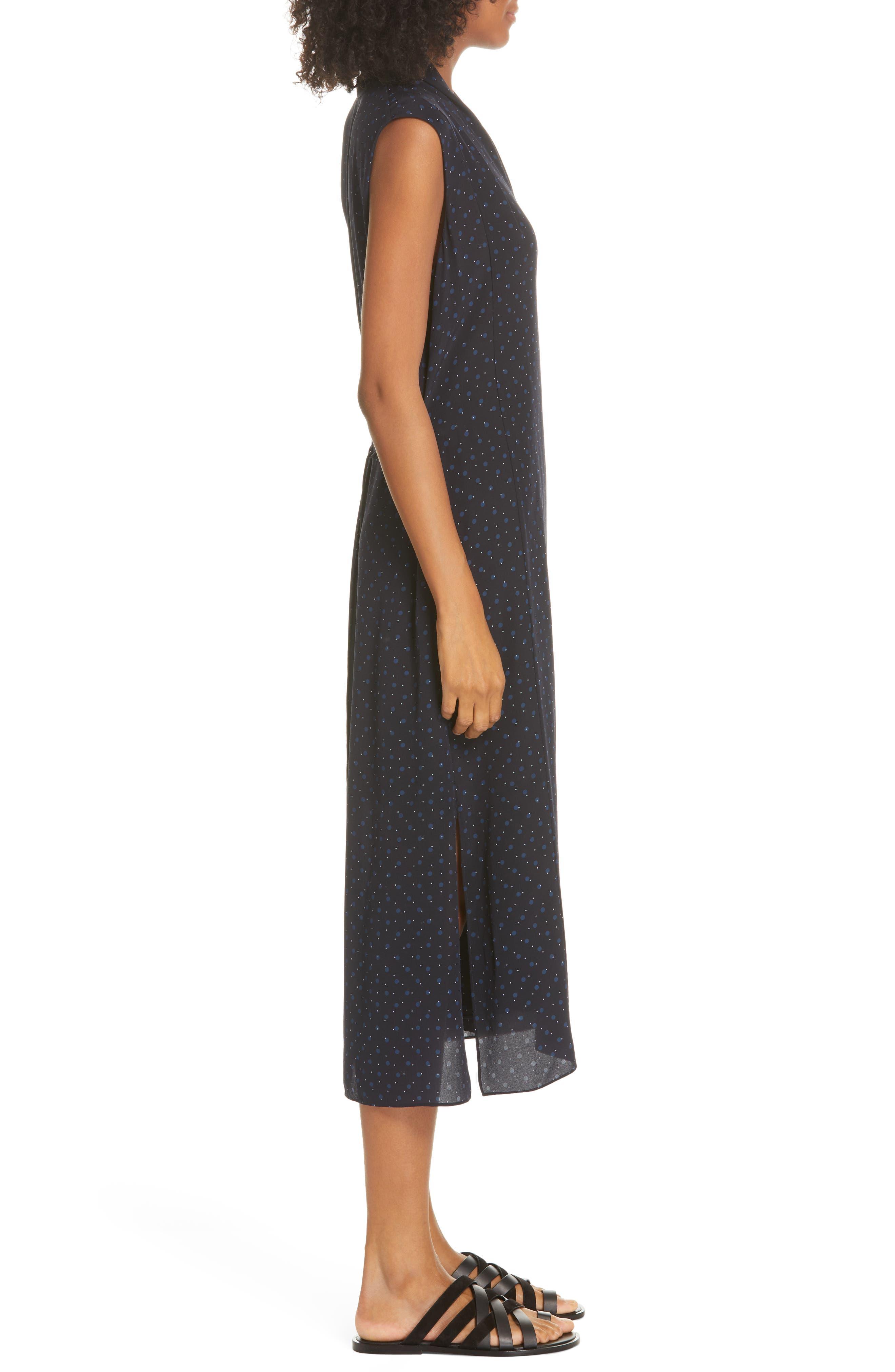 ,                             Shadow Dot Midi Silk Dress,                             Alternate thumbnail 4, color,                             INDIGO