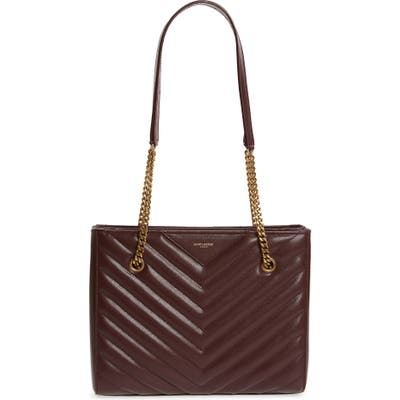 Saint Laurent Small Tribeca Quilted Calfskin Leather Tote - Burgundy