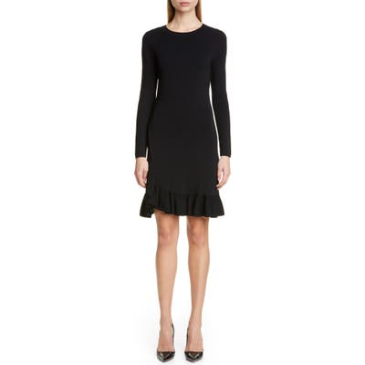 Altuzarra Long Sleeve A-Line Sweater Dress, Black