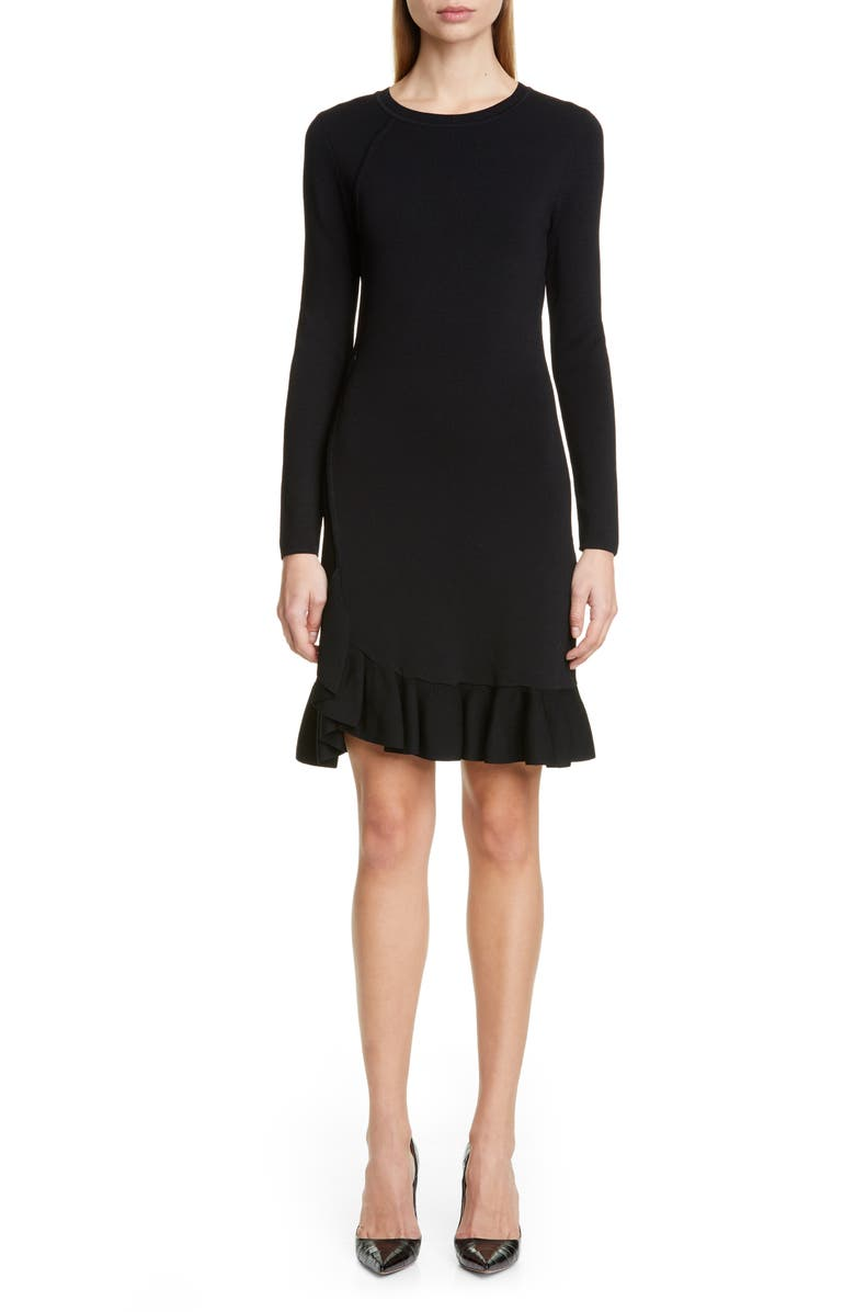 ALTUZARRA Long Sleeve A-Line Sweater Dress, Main, color, BLACK