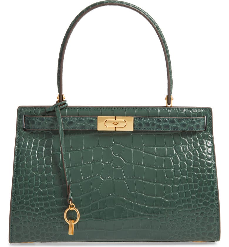 TORY BURCH Small Lee Radziwill Croc Embossed Leather Satchel, Main, color, NORDWOOD